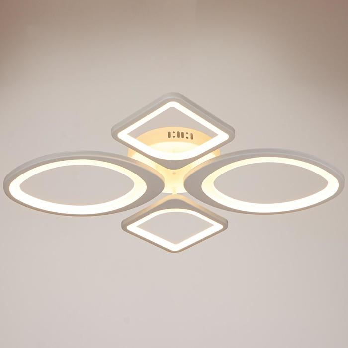 Люстра с ПДУ 671103/4 LED 108Вт диммер 3 режима 3000 6000К белый 65х53х11 см 4622162 Люстры    АлиЭкспресс