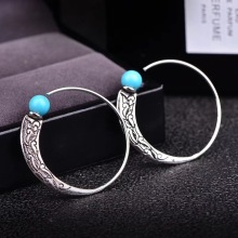 купить New Arrival Vintage SIlver Round Hoop Earrings with Turquoise for Women Boho Bohemian Fashion Jewelry Korean Earrings по цене 196.04 рублей