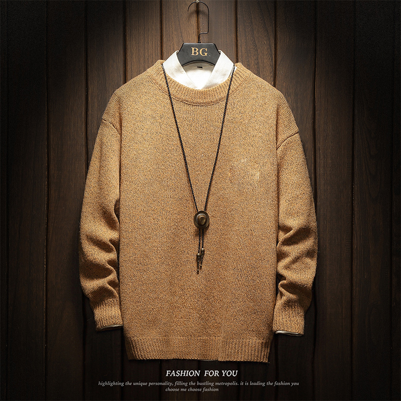 Knitting Sweaters Men's Warm Fashion Solid Color Casual O-neck Knit Pullover Men Sweater Male Sweter Clothes Large Size M-5XL