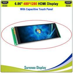 6,86 480X1280 HDMI a MIPI IPS Monitor de módulo LCD con Panel táctil capacitivo USB