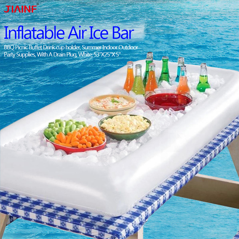 JIAINF Inflatable Air Ice Bar Drinks Holder Inflatable Rectangle Water Mattress For Cups Pool Float Swim Float Beach Sea Toys
