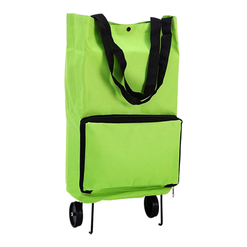 Portable Shopping Trolley Bag With Wheels Foldable Cart Rolling Grocery Green