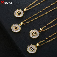 SONYA Women Girls Initial Letter Necklace 26 Letters Charm Gold Name Necklace Pendant Top Quality Copper Zircon Jewelry Gift(China)