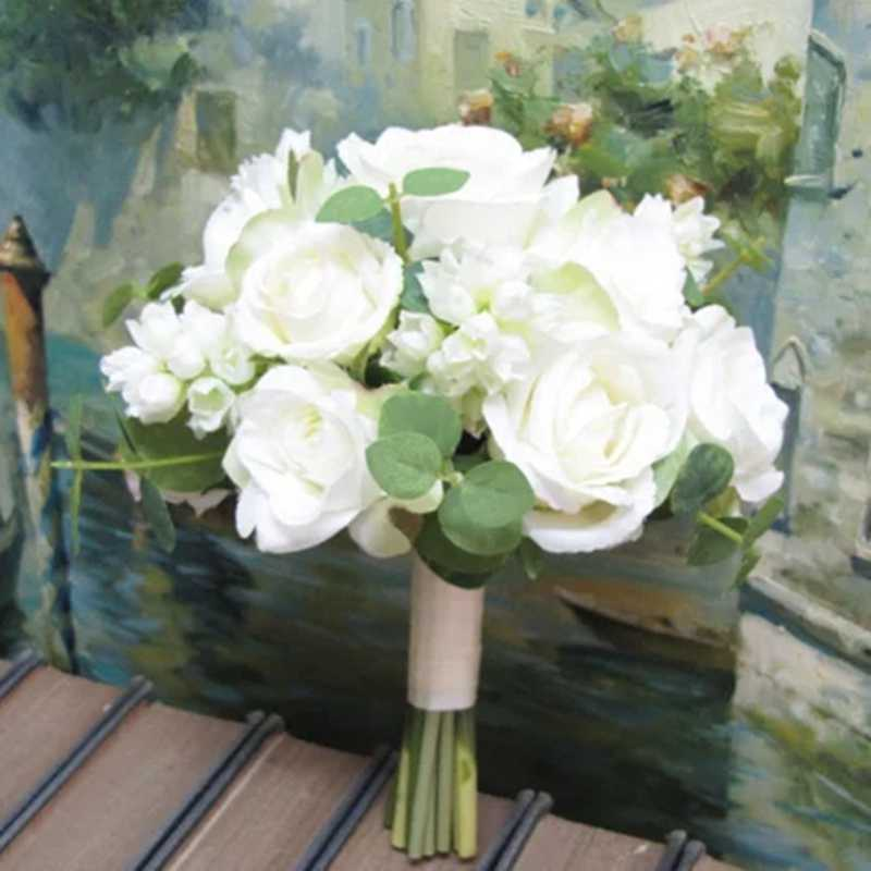 Bridal Bouquet White Roses Rustic Wedding Bouquet Silk Wedding Flowers Real To Touch Roses Bridal Bouquet Aliexpress