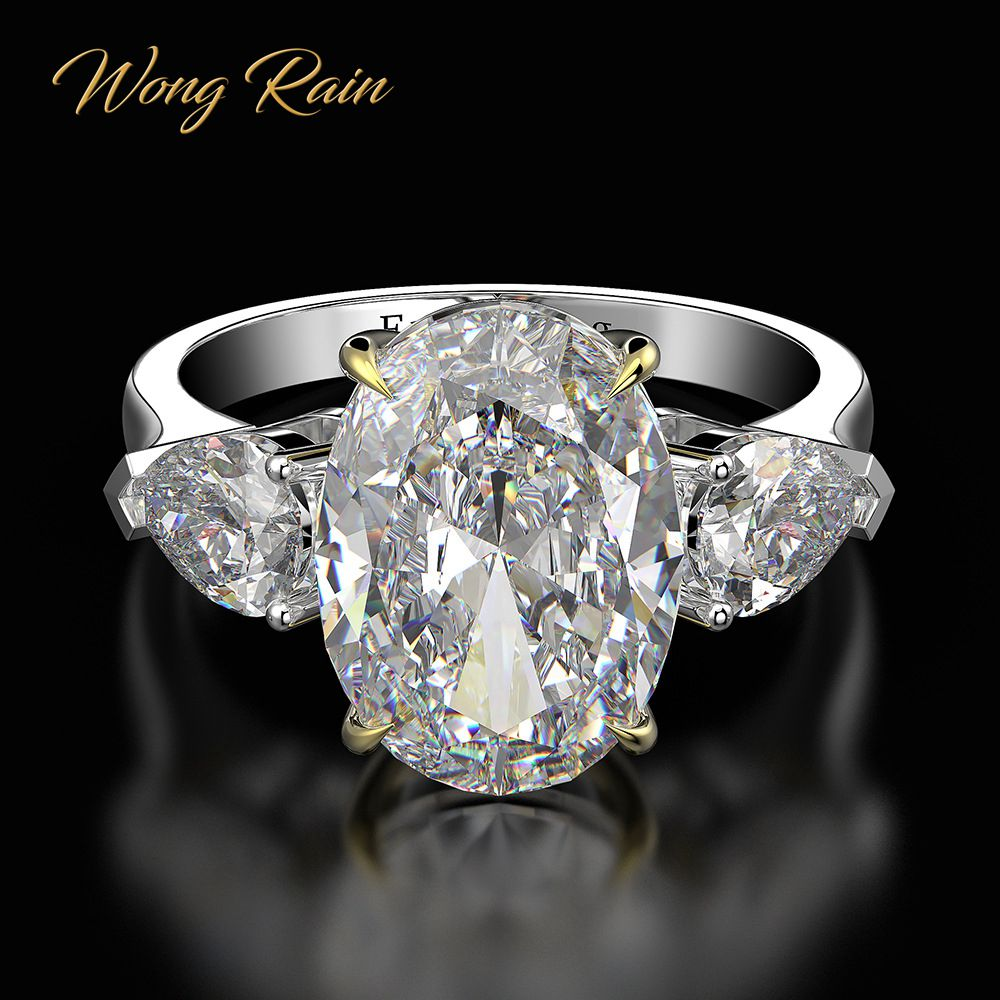 Wong Rain Vintage 100% 925 Sterling Silver Created Moissanite Gemstone Wedding Engagement Diamonds Ring Fine Jewelry Wholesale