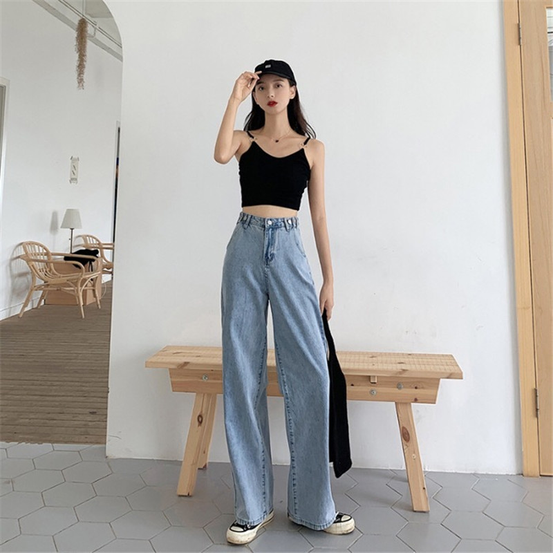 Summer 2020 Fashion Popular Ladies White Loose Wild Straight Horn Long Big Feet Jeans  BM954