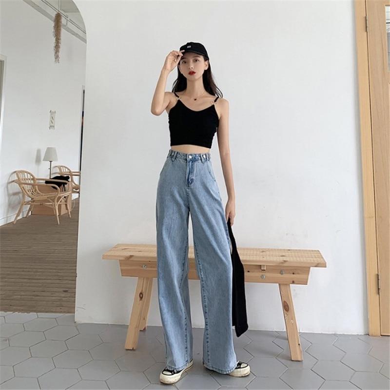 Summer 2020 Fashion Popular Ladies White Loose Wild Straight Horn Long Big Feet Jeans  BM954