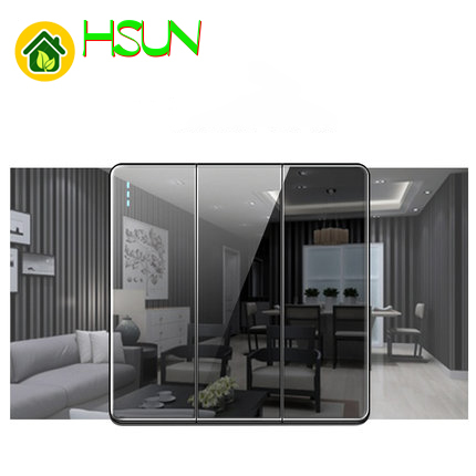 High grade 1 2 3 4 gang 1 2 way big panel black switch socket Type 86 Wall 2 5D Cambered Mirror Toughened glass Computer TV in Switches from Lights Lighting