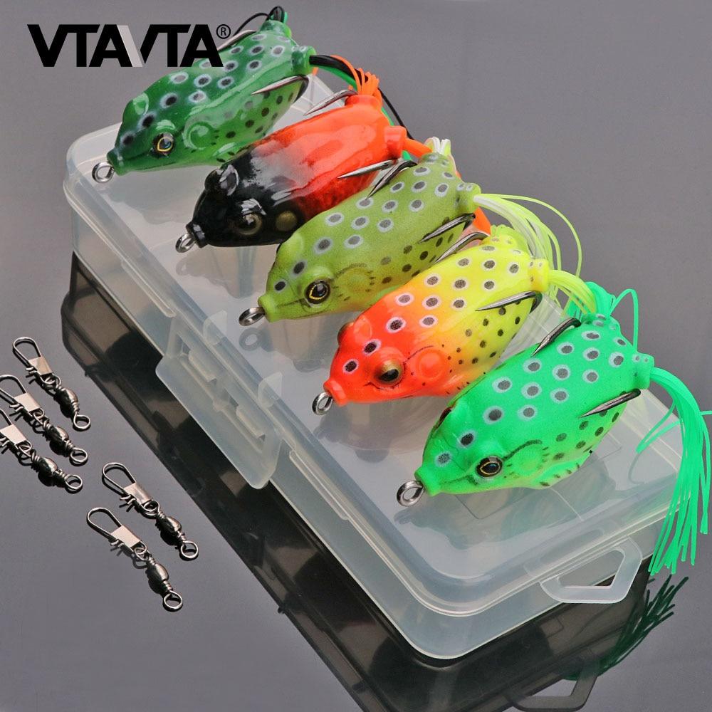 5pcs Soft Frog Lure Silicone Bait 5 Colors Mixed Wobblers Artificial Bait Box
