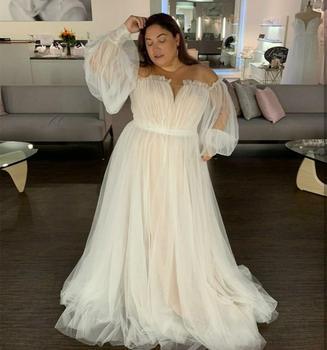 Wedding Dress Plus Size Long Sleeve Puff Light Champage Floor Length Court Train Bridal Gowns Big Bost Neck Women Brides