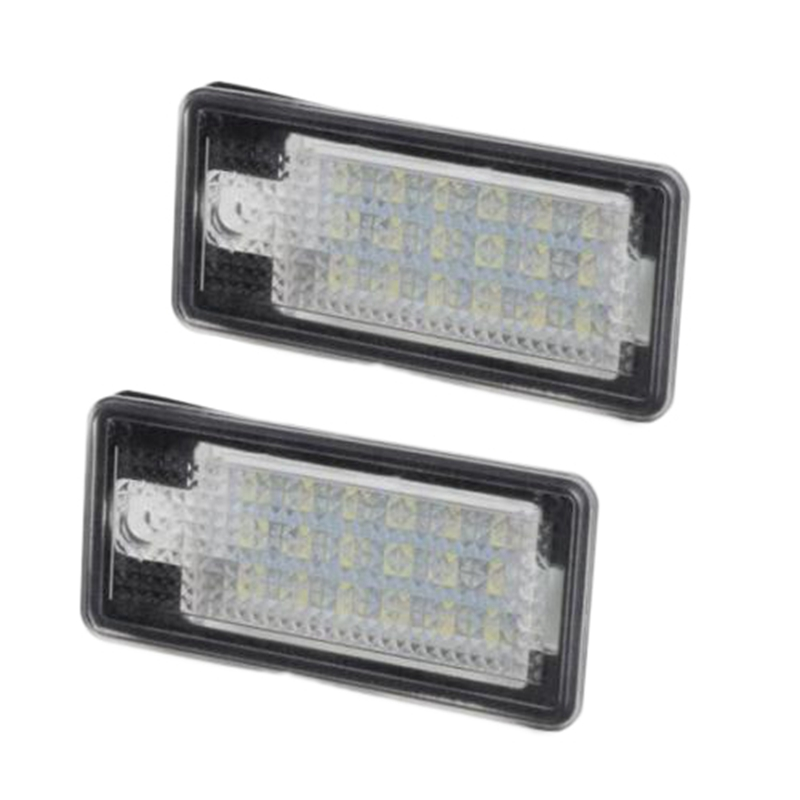 2Pcs White <font><b>18</b></font>-<font><b>SMD</b></font> <font><b>LED</b></font> License Plate Light Lamp Error Free for AUDI Q7 A4 A6 image