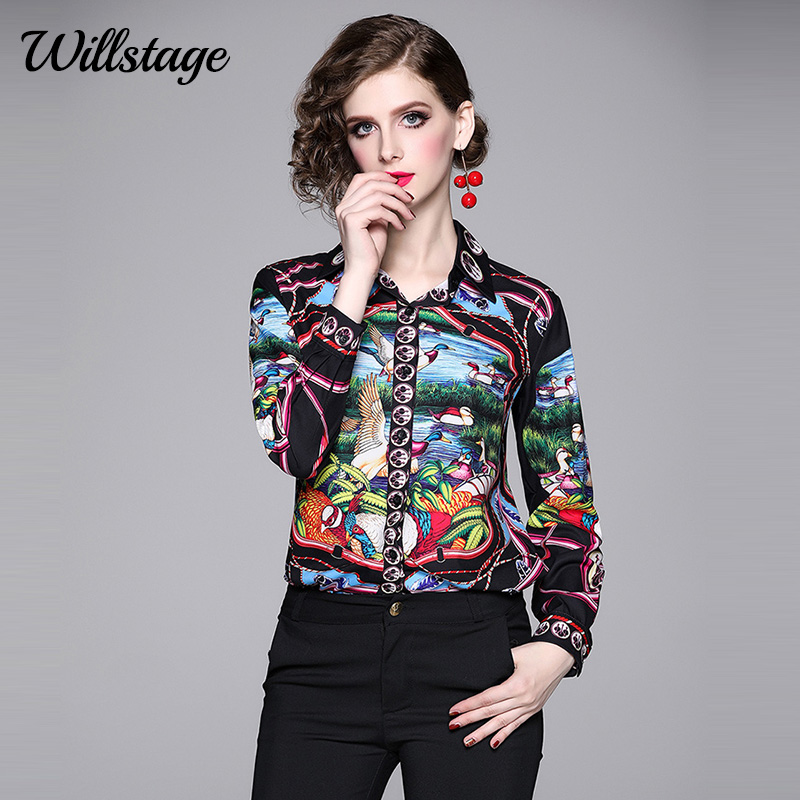 Willstage 2019 Autumn Women Shirts Long Sleeve Printed Pattern Birds Blouse Collar Button Shirt Female Office Ladies Work Wear
