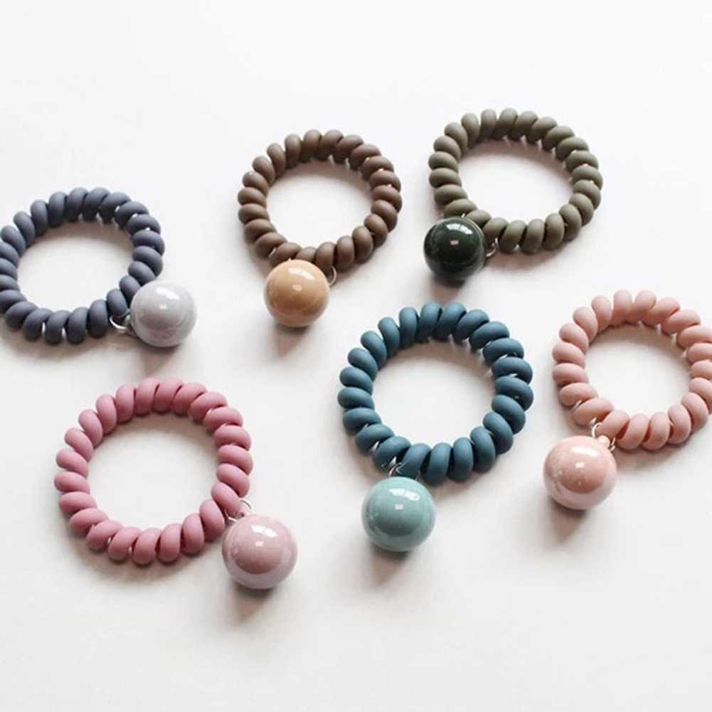 Fashion Dull Polish Telephone Wire Hair Ties Adjustable Korean Elastic Donut Ponytail Hairstyle Gum Hair Ring Hair Accessories
