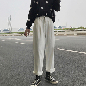 Image 2 - ג ינס נשים Loose גבוה מותן פנאי מלא אורך רחב רגל ז אן כל להתאים קוריאני סגנון פשוט נשים טרנדי harajuku יומי שיק