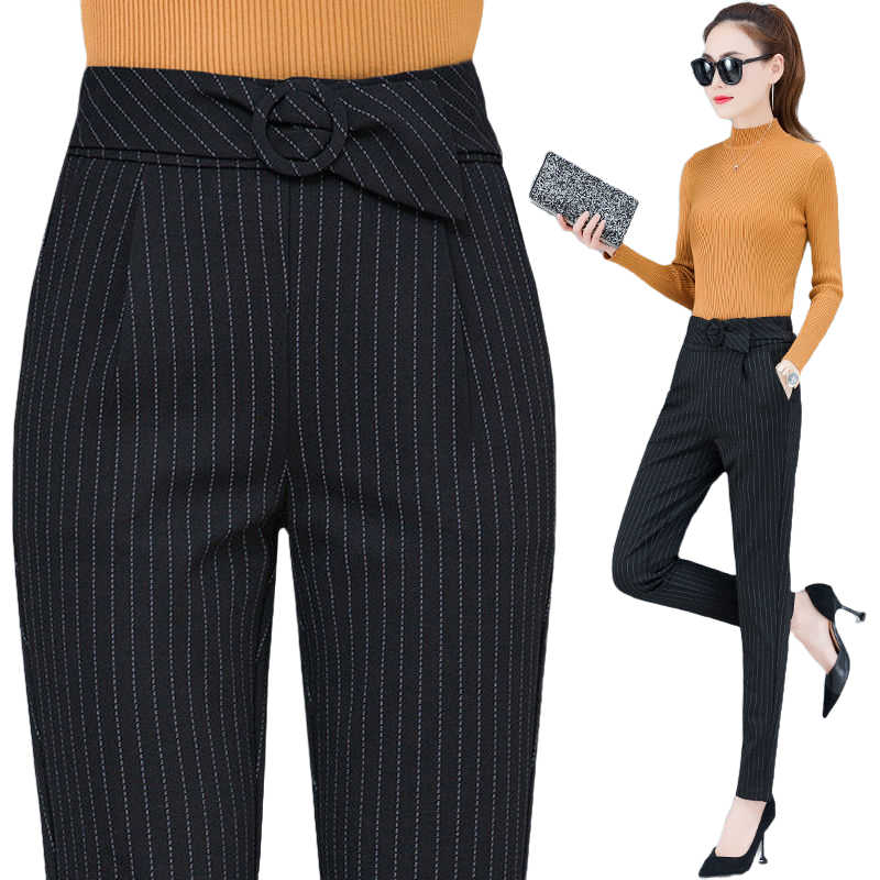 Pantalones Informales A Rayas Para Mujer Moda 2020 Pantalones De Traje De Cintura Alta Para Mama