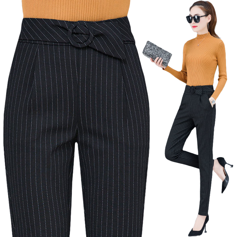 Black Suit Pants Women Fashion High Waist Striped Pants Sashes Pockets Office Elastic Middle Aged Female Casual Harem Pants