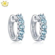 Hutang Natürliche Aquamarin frauen Hoop Ohrringe Solide 925 Sterling Silber Blau Edelstein Feine Schmuck Zubehör für Geschenk Neue