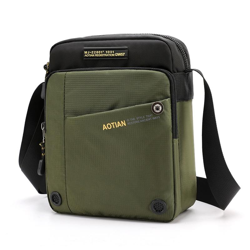 AOTIAN Маленькая мужская сумка через плечо, мужская сумка-мессенджер высокого качества, мужская сумка, водонепроницаемый светильник, нейлонов...