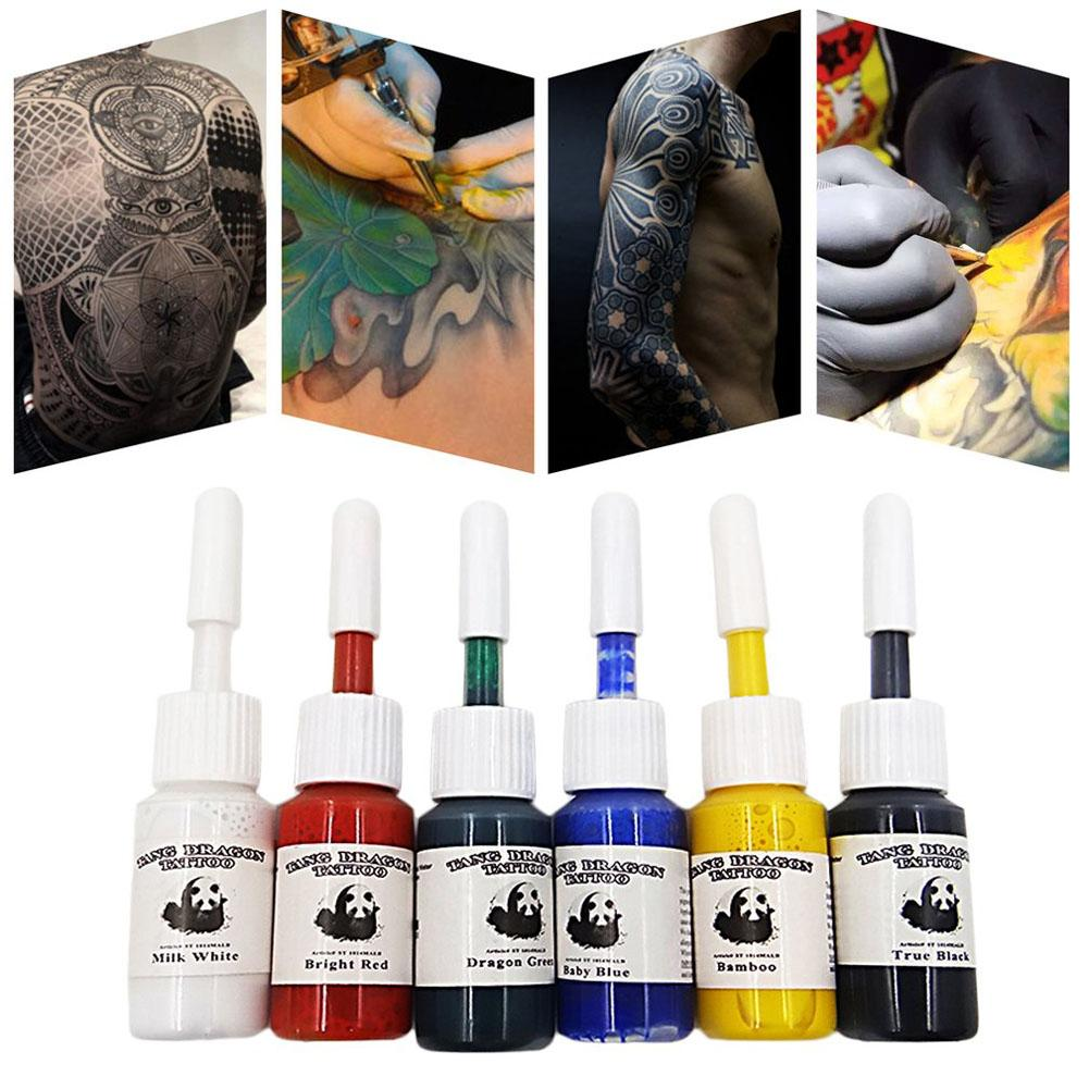 6pcs/set Professional Multi Colors Tattoo Ink Pigment Set Kits 5ml Beauty Makeup Paints Bottles Tools Body Art Accessory
