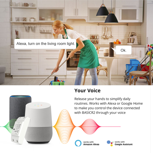 Sonoff Basic R2 Wifi DIY Smart Wireless Remote Switch Smart Scene Voice Control Via Alexa Google Home eWeLink Home Automation 3