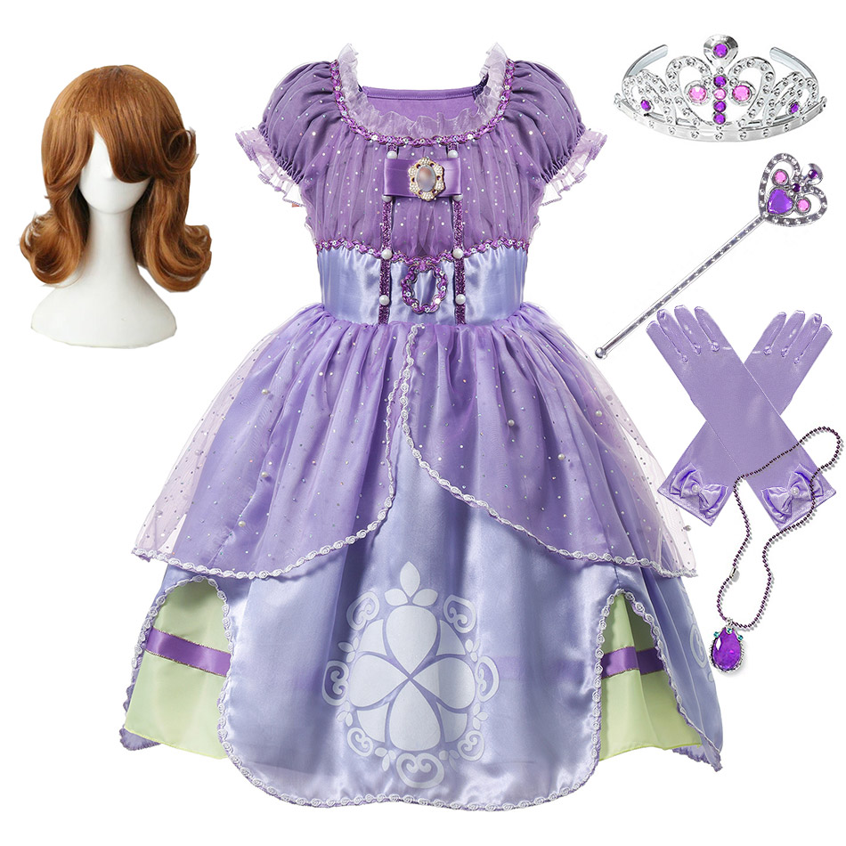 Sofia The First Comic Con Cosplay Party Ball Gown For Children Fancy Princess Sofia Dress Girls Christmas Carnival Purple Frocks