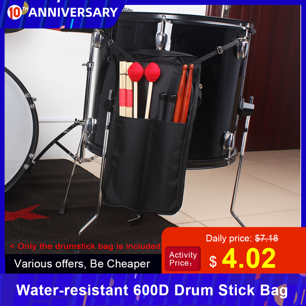 Drum Stick Bag Case Water-resistant 600D With Carrying Strap For Drumsticks Percussion Instruments Accessories