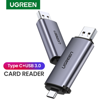 قارئ بطاقة Ugreen USB 3.0 نوع C إلى SD مايكرو SD TF محول لأجهزة الكمبيوتر المحمول OTG Cardreader الذاكرة الذكية قارئ بطاقة SD