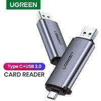 עבור מחשב USB קורא כרטיסים Ugreen 3.0 סוג C כדי SD Micro SD TF מתאם עבור מחשב נייד אביזרים OTG Cardreader חכם זיכרון SD Card Reader (1)