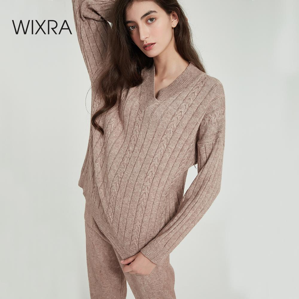 Wixra Women's Sweater Sets V Neck Loose Sweaters Tops+Long Knit Pants Solid Casual 2 Pieces Sets Autumn Winter