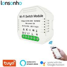 Lonsonho Tuya Smart Wifi Schakelaar Relais Smart Leven Smart Home Automation Module Afstandsbediening Compatibel Alexa Google Thuis Mini