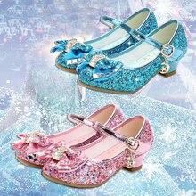 子供の王女の靴のための高ヒールグリッターラインストーンザンファンfille女性パーティードレス靴子供の靴の女の子