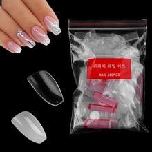 500PCS/Bag Short False Nails Full Cover Coffin Fake Nails Acrylic Nail Art Tips Ballerina Press On Nails DIY For Nail Salon