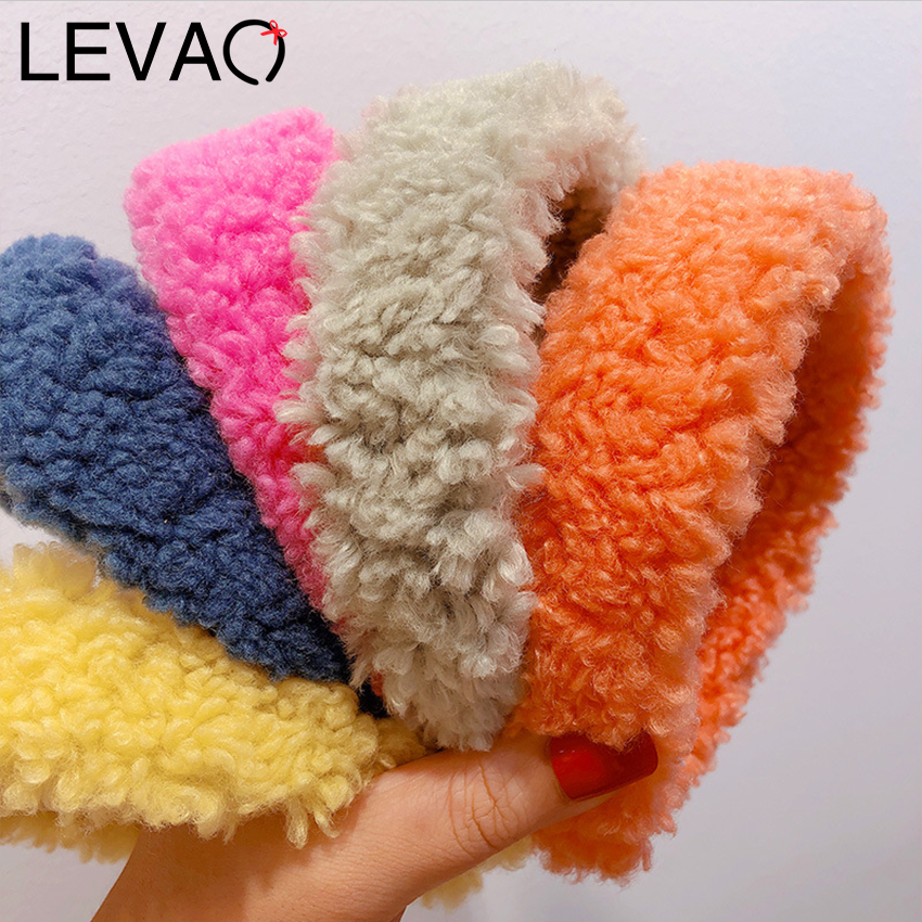 Leveo Teddy Style Thick Headband Hair Bands For Women 2020 Winter Warm Cashmere Hairband Solid Color Wide Hair Hoop Ornament