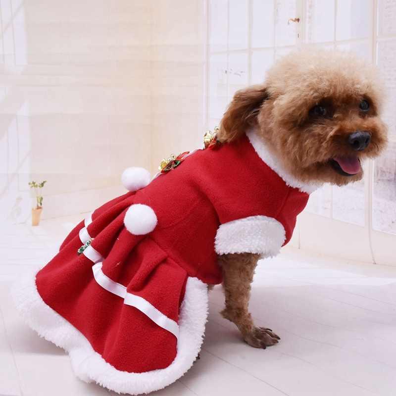 Thú Cưng Mùa Thu Và Mùa Đông Quần Áo Ấm Chó Bé Gái Trang Phục Đỏ Đô Con Chó Con Ấm Trang Váy Cho Christmasa Một
