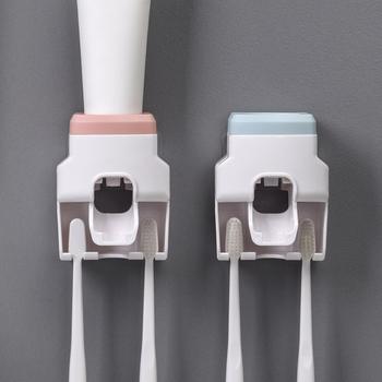 Automatyczny dozownik pasty do zębów ścienny pasta do zębów wyciskacz pasta do zębów wieszak montażu na ścianie łazienka uchwyt do pasty do zębów tanie i dobre opinie CN (pochodzenie) Other