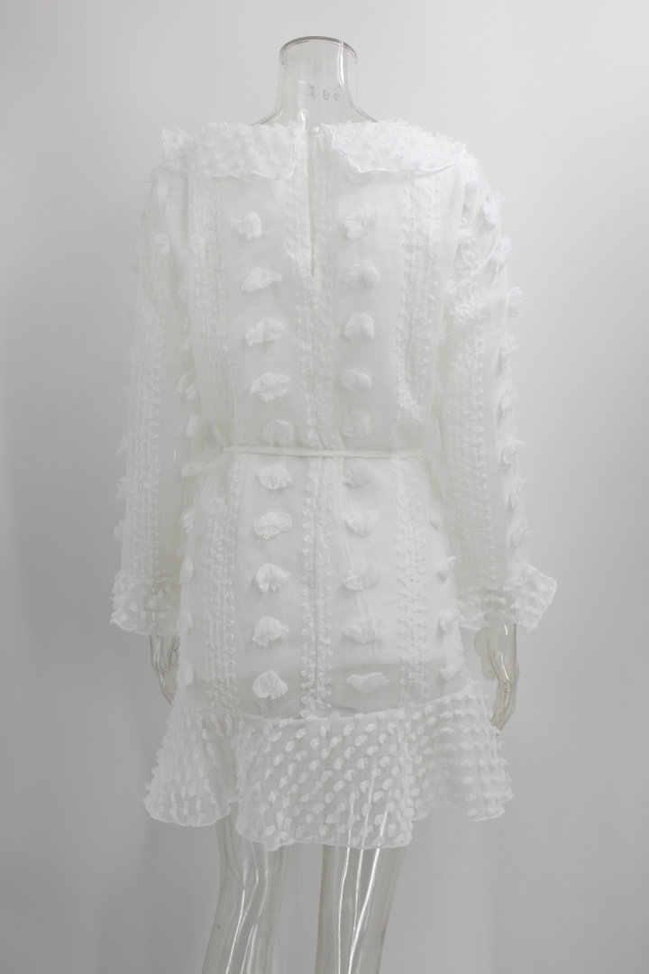 3D פרח לבן שמלה סקסי נשים מיני שיפון שמלת כריס צלב חצי sheer לצלול V-צוואר ארוך שרוול סרוג תחרה שמלת S-XL