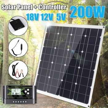 LEORY 200W Solar Panel 18V 5V Flexible MonoCrystalline Silicon With 10/20/30A Controller for Outdoor Solar Battery 1