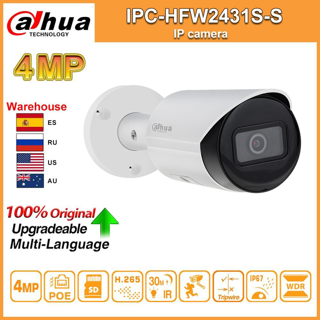 Dahua Original IPC-HFW2431S-S 4MP HD POE fente pour carte SD H.265 IP67 IK10 30M IR Starlight IVS WDR