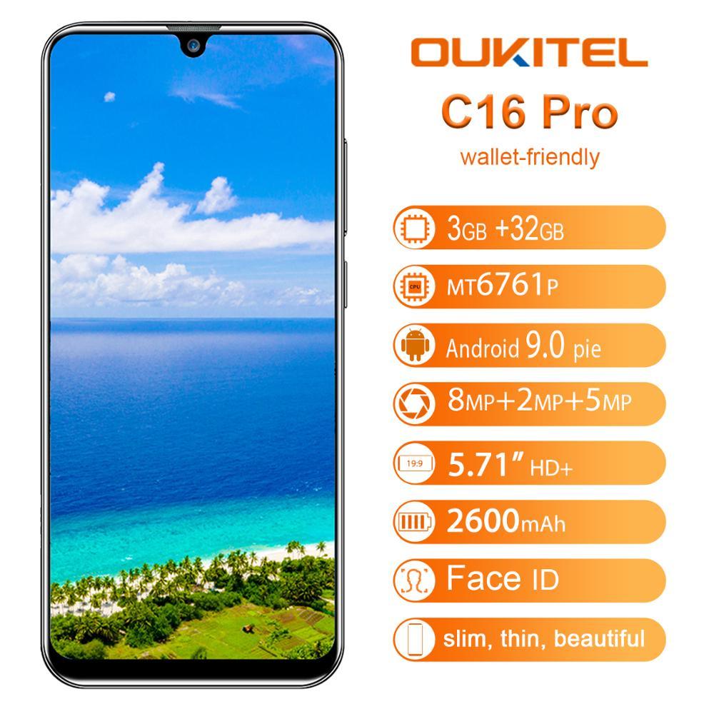 "OUKITEL C16 Pro Smartphone 3GB RAM 32GB ROM 5.71"" Cellphone 4G LTE 2600mAh Fingerprint Face ID Android 9.0 Mobile Phone"