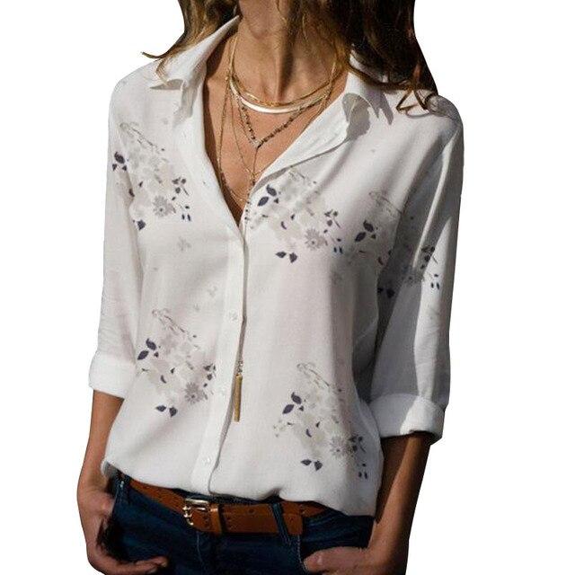 Long Sleeve Women Blouses 2019 Plus Size Turn-down Collar Blouse Shirt Casual Tops Elegant Work Wear Chiffon Shirts 5XL 3