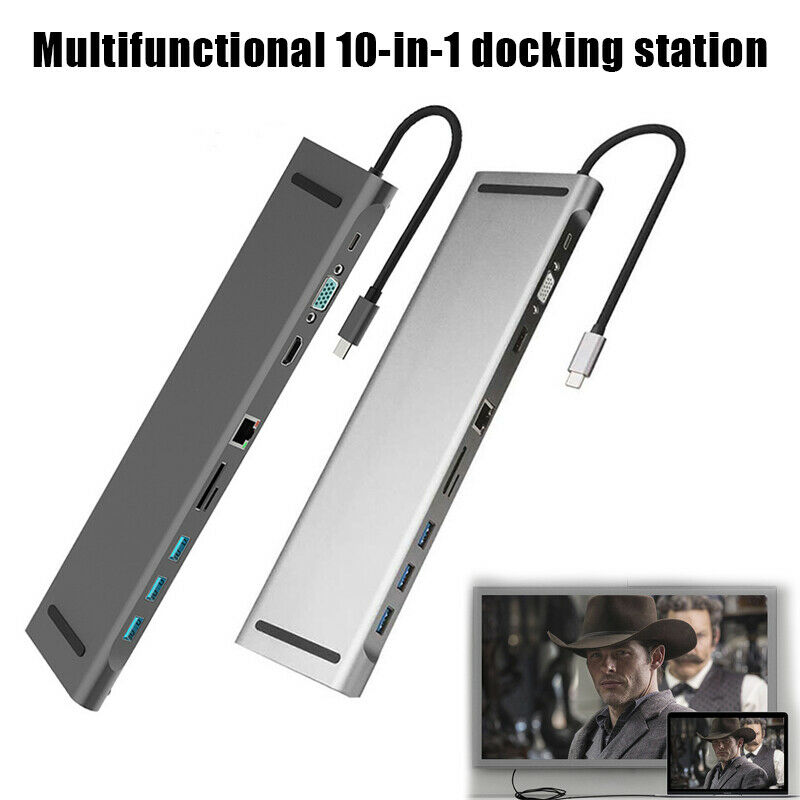 10 In 1 Type C Hub To HDMI 4K Hub 3.0 Type C Hub RJ45 VGA AdapterDock Splitter USB C 3.5mm Audio DP HUB For MacBook Pro Samsung