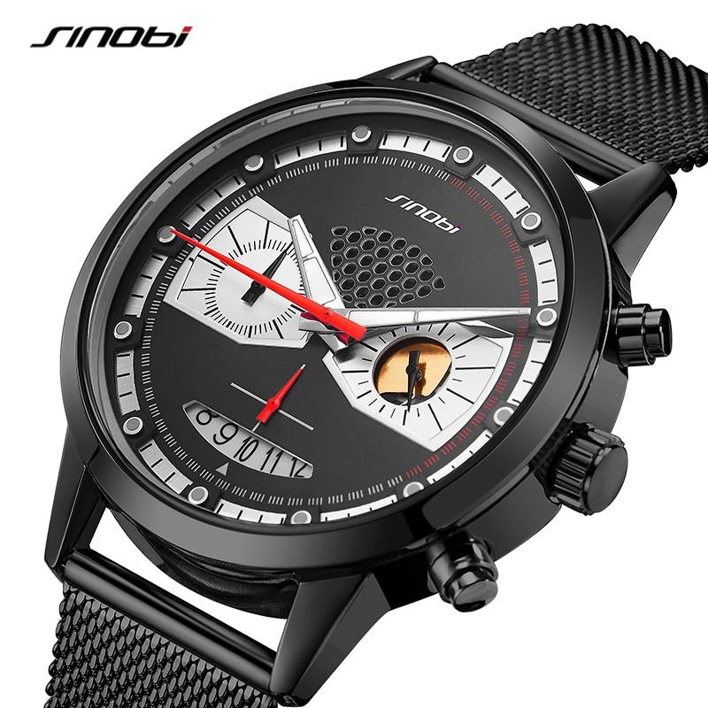 Sinobi Men's Fashion Watch Creative Owl Eyes Chronograph Male Clock Sports Quartz Wrist Watches Original Design erkek kol saati