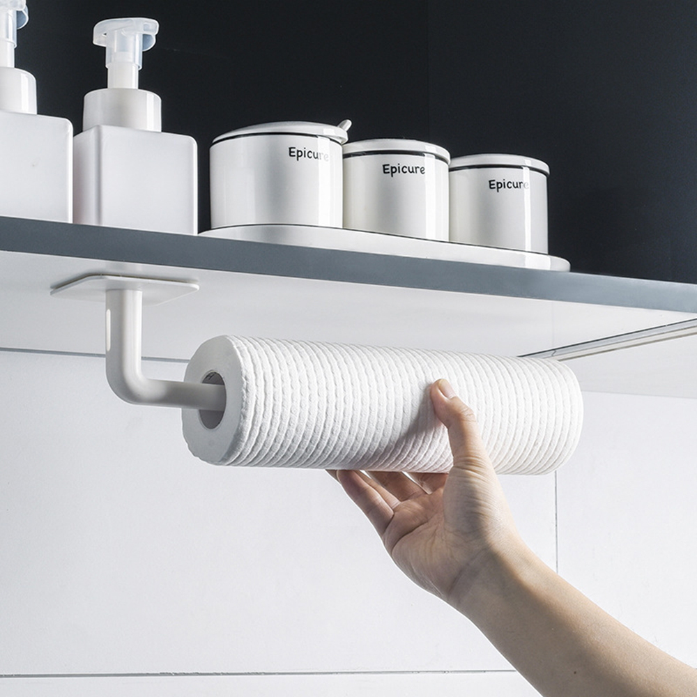 2PCs Self-adhesive Roll Paper Rack Towel Holder For Kitchen Bathroom Tissue Hanger Rack Nail-Free Cabinet Shelf Decor