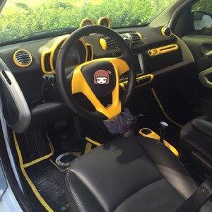 Image 5 - Auto Gelb Dekorative Abdeckung Moulding Armlehne Instrument Abdeckung Fall Shell Änderung Für Alte Smart 451 fortwo Zwei Tür