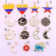 20PCS, Mix Random, Heart/ Star/Moon/Round Enamel Pendants Charms, CZ Pave Beads, Necklace Jewelry Findings