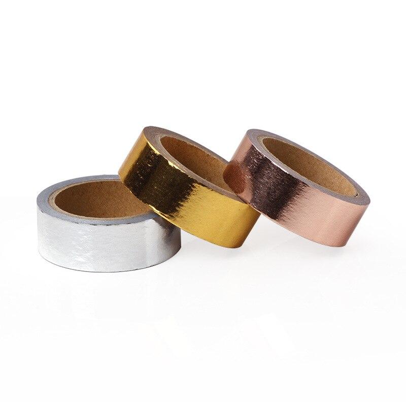 Rose Gold Bronzing Hot Silver Masking Tape Solid Color DIY Decorative Gold Foil Hot Stamping Washi Tape