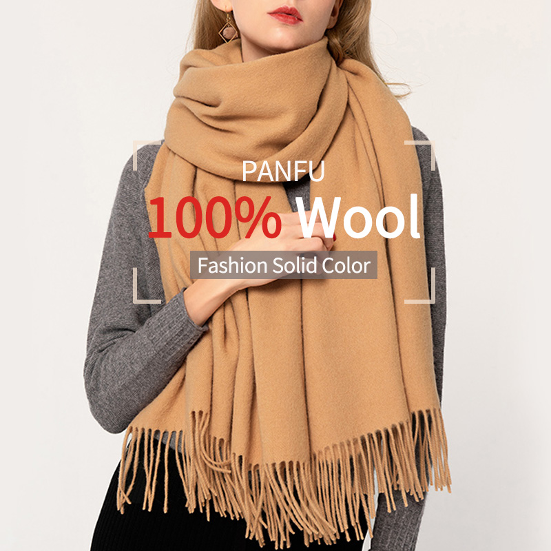 100% Pure Wool   Scarf   Winter Women 2019 Brand Brown Echarpe   Wraps   for Ladies Solid Pashmina with Tassel Warm Merino Wool   Scarves