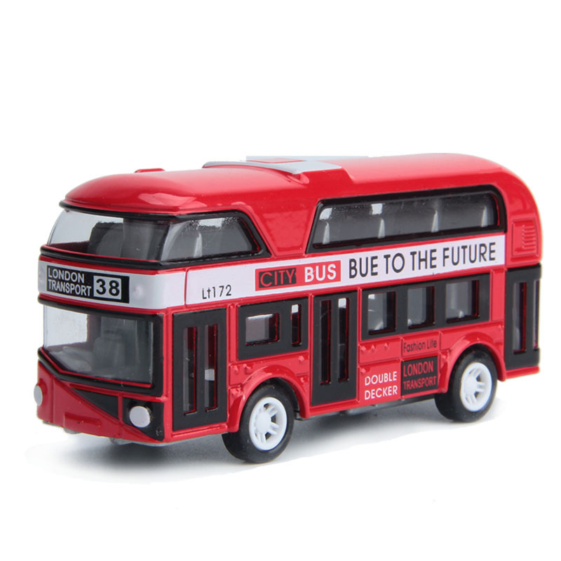 Double-Decker Bus London Bus Design Car Toys Sightseeing Bus Vehicles Urban Transport Vehicles Commuter Vehicles,Red