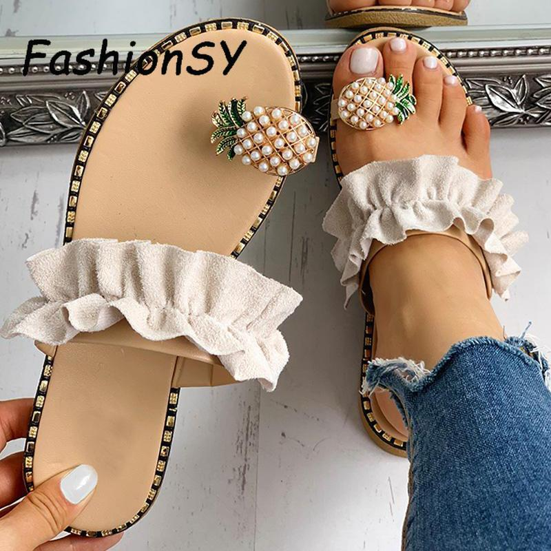 Women Flats Slippers Summer Casual Flip Flops Flowers Pearl Woman Flat Shoes Comfortable Footwear Beach Sandals