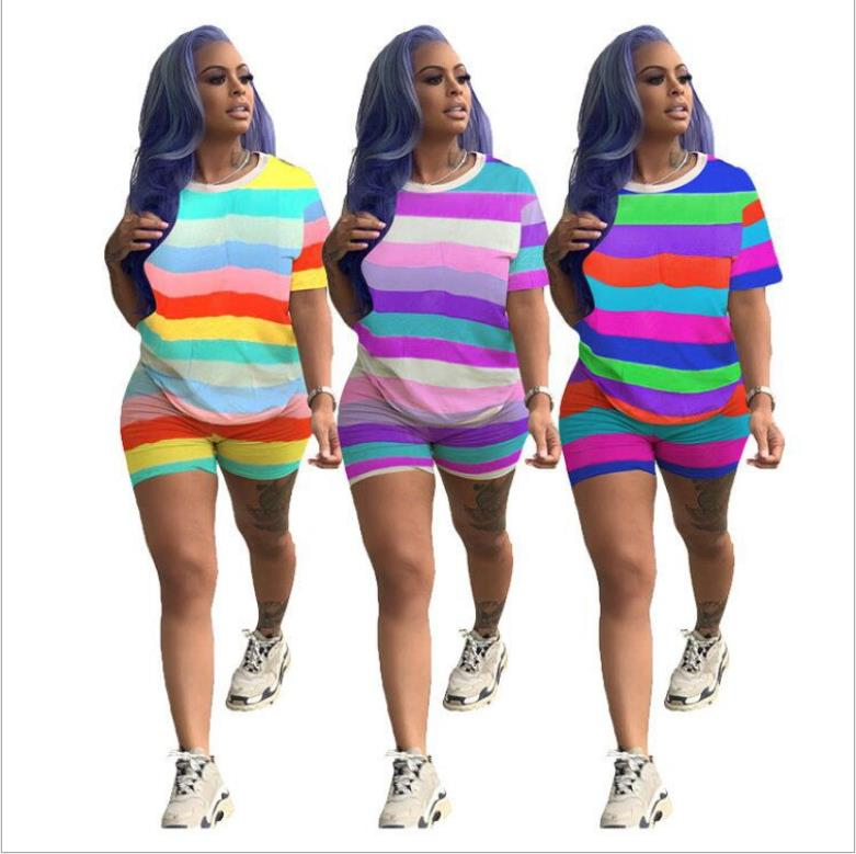 Rainbow Striped Plus Size Two Piece Set Tracksuit Women Festival Top+Biker Shorts 2Piece Matching Sets Summer Outfits
